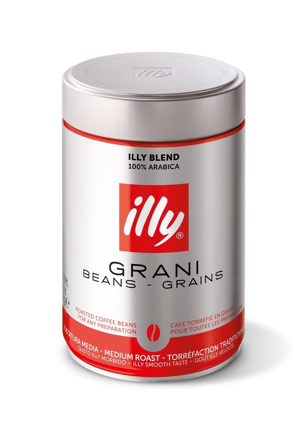 5 Dosen Illy Espresso ganze Bohnen [5,64 € pro Dose] (Grani, mittlere Röstung)