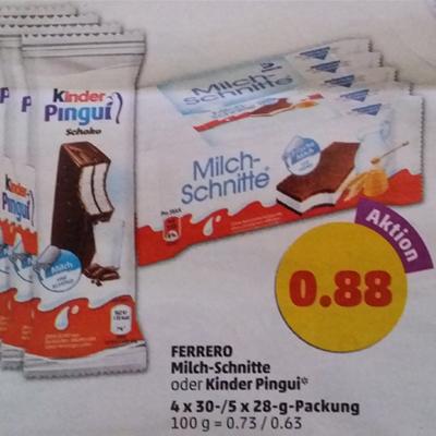 [Penny ab 03.04.] 5x Milchschnitte oder 4x Kinder Pingui für 0,88€