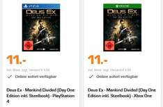 [Saturn Online Offers] Deus Ex - Mankind Divided (Day One Edition inkl. Steelbook) - Xbox One und PS4 für je 11,-€ Versandkostenfrei
