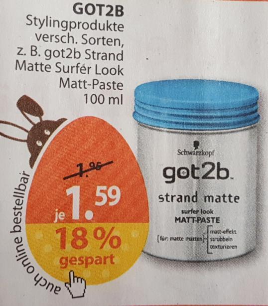 Drogerie Müller: Schwarzkopf got2b - Strand Matte und andere Varianten für jeweils nur 1,59 Euro.
