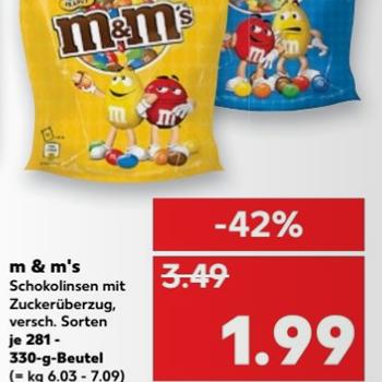 [Kaufland] M&M's versch. Sorten je 281-330g für 1,99€ (6,03€/kg)