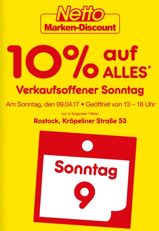 [Lokal Rostock] Netto MD 10% auf fast alles am 9.4.2017 in der Kröpi