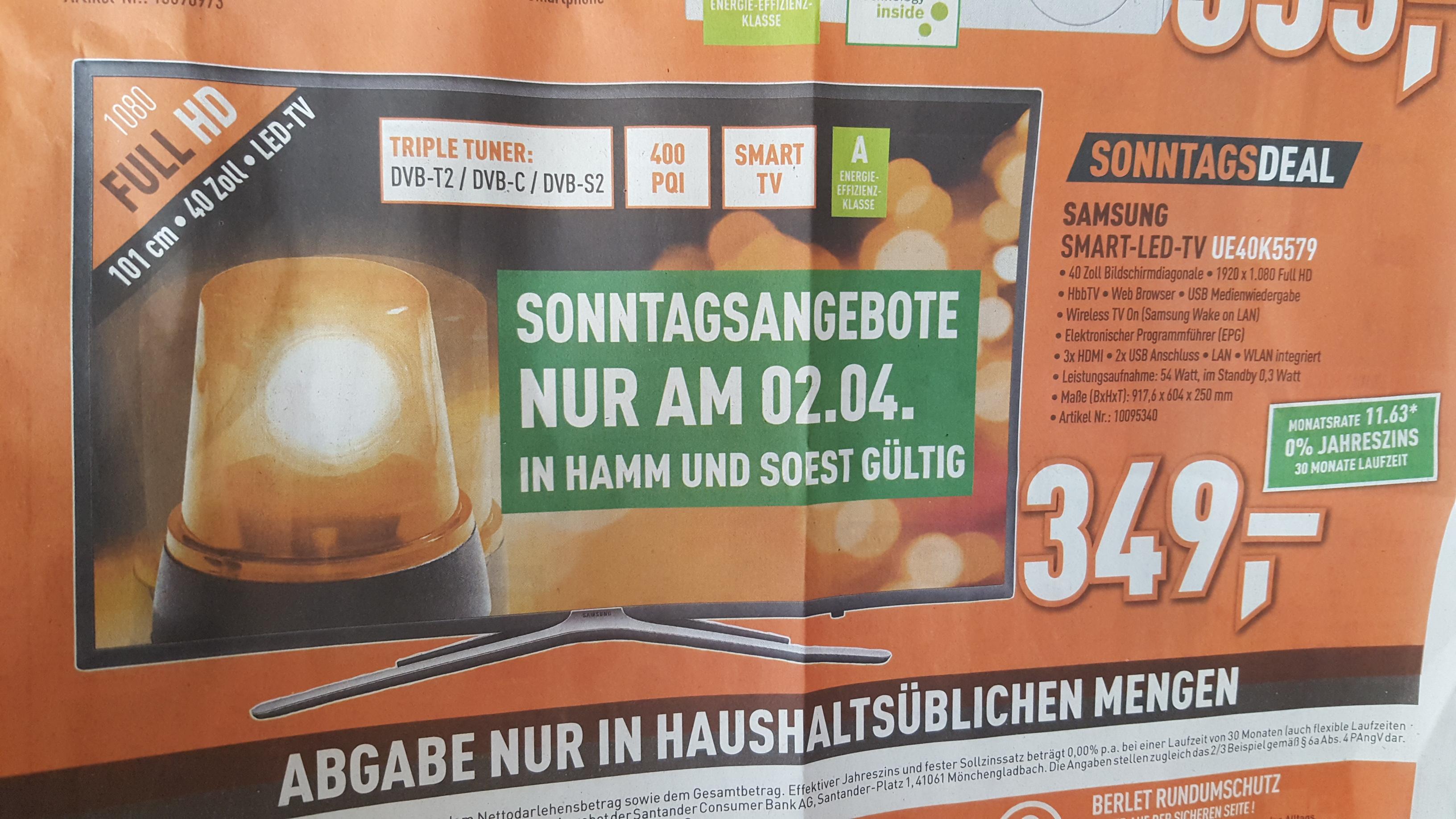 [Berlet - Lokal Soest und Hamm] Sonntagsangebot am 2.April Samsung K5579 UE40K5579, 101 cm (40 Zoll), Full-HD, SMART TV, LED TV, 400 PQI, DVB-T2 HD, DVB-C, DVB-S, DVB-S2 für 349€