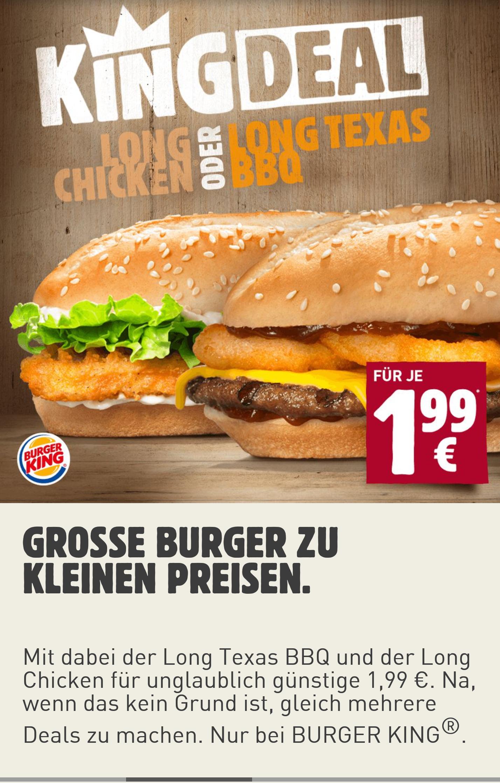 [Burger King ohne App oder PLU] Long Texas BBQ oder Long Chicken für jeweils 1,99€