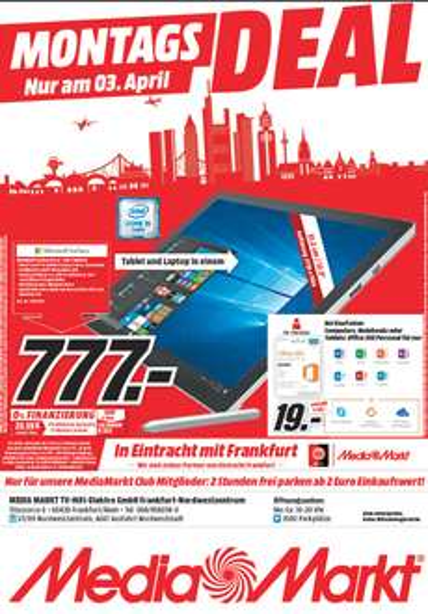 (Lokal) [MM Franfurt NWZ] Surface Pro 4 128 GB I5 für 777,-