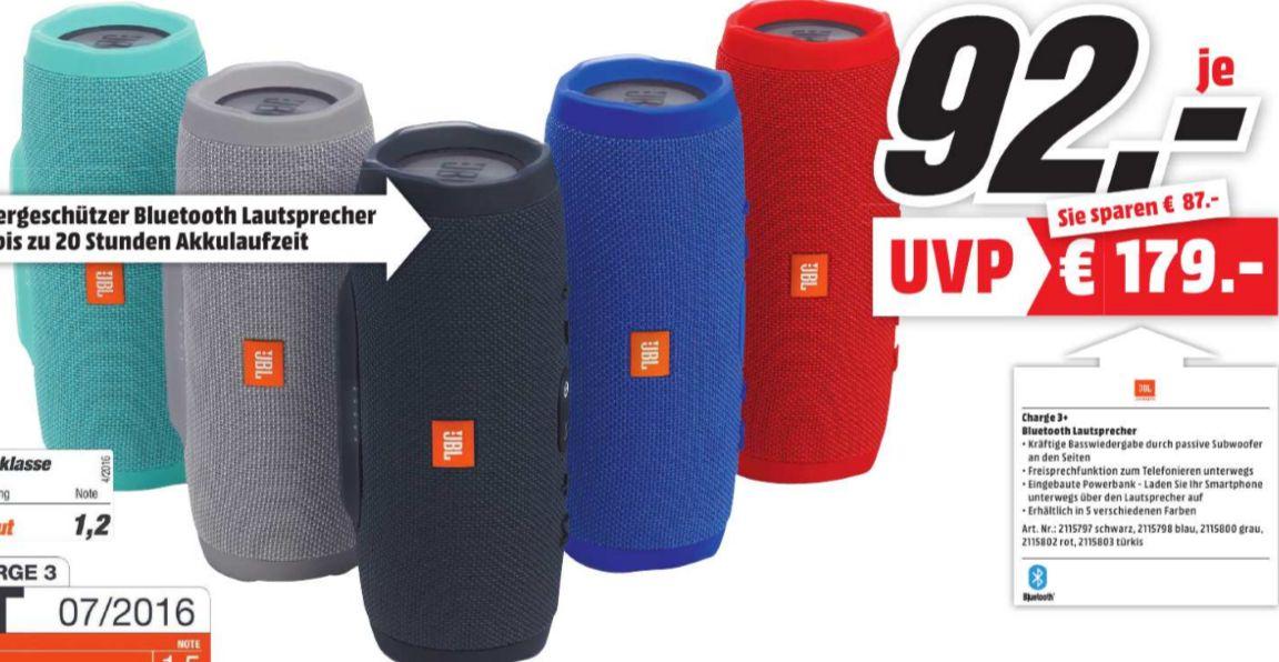 [Lokal Mediamarkt Schweinfurt/Bad Neustadt] JBL Charge 3- Tragbarer Bluetooth-Lautsprecher (20W, Bluetooth, Freisprechfunktion, spritzwassergeschützt) in verschiedenen Farben für je 92,-€