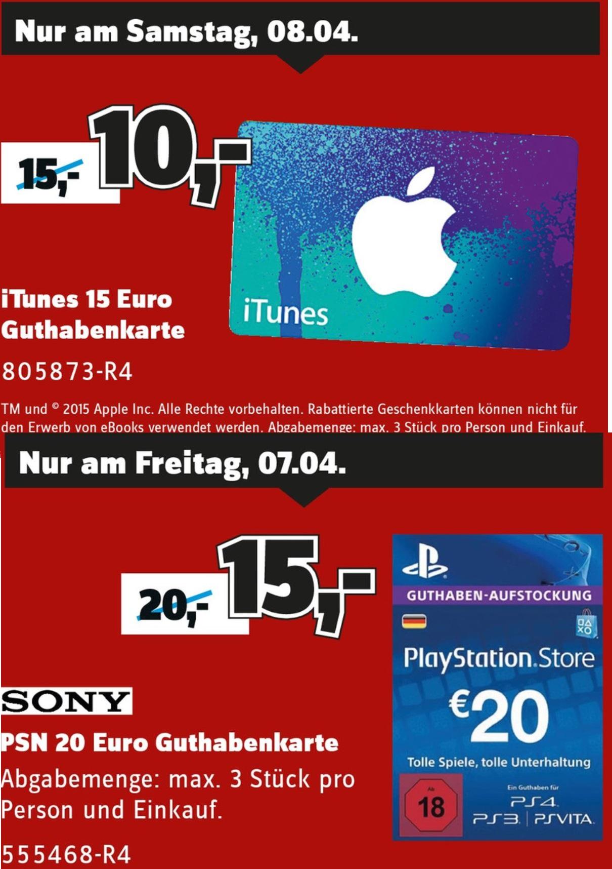 [Lokal Stuttgart] Sa. 08.04; 15 € iTunes Guthaben für 10 €, Fr. 07.04. 20 € PSN Guthaben für 15 € bei Conrad