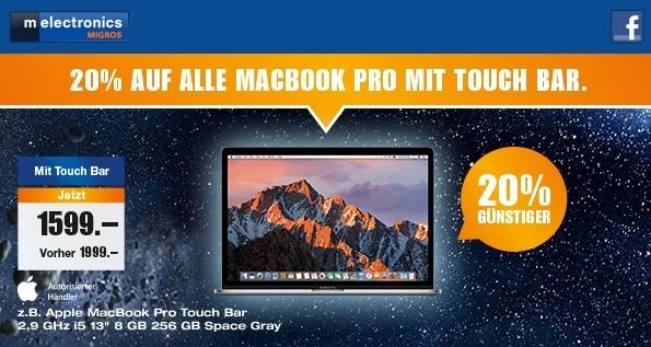 CH: 20 % auf alle Macbook Pro mit Touch Bar bei melectronics.ch