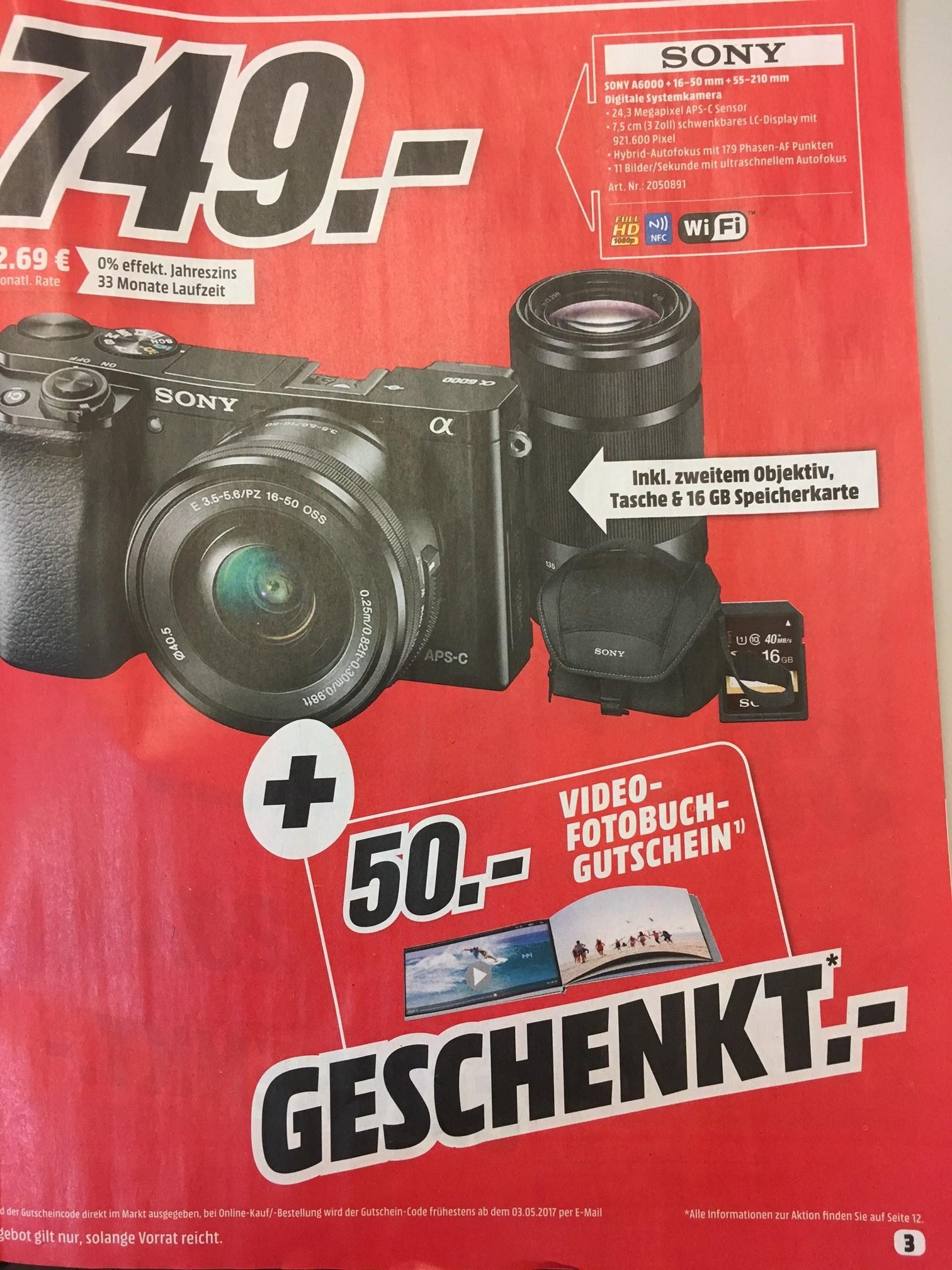[MediaMarkt Hamburg] Sony Alpha A6000 inkl. Objektive 16-50 mm & 55-210 mm + 16 GB SD Card + Tasche + 50€ Fotobuch Gutschein