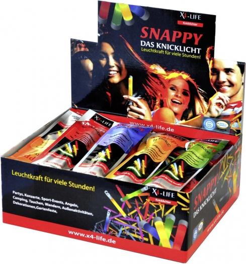 60 Snappy Knicklichter für 19,99€ bei [voelkner] Im Verkaufsdisplay, einzeln verpackt, 15cm lang - Blau, Grün, Gelb und Rot