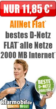 Klarmobil All-Net Flat inkl. 2 GB Daten im D1-Netz für 11,85 € *UPDATE* / Handybude.de