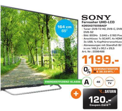[Lokal Satun Flensburg] SONY KD65XD7505BAEP, 164 cm (65 Zoll), UHD 4K, SMART TV, LED TV, 800 Hz XR, DVB-T, DVB-T2 (H.265), DVB-C, DVB-S, DVB-S2,A, Smart TV + 120,-€ Coupon für 1199,-€