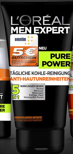 (Rossmann+App) L´Oréal Men Expert Pure Power + 5€ Eventim-Gutschein für 3,69€ mit 10% Coupon (3,99€ ohne Coupons)