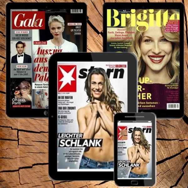 Gratis & selbstkündigend 4 Wochen E-Paper der Zeitschriften Stern, Gala und Brigitte