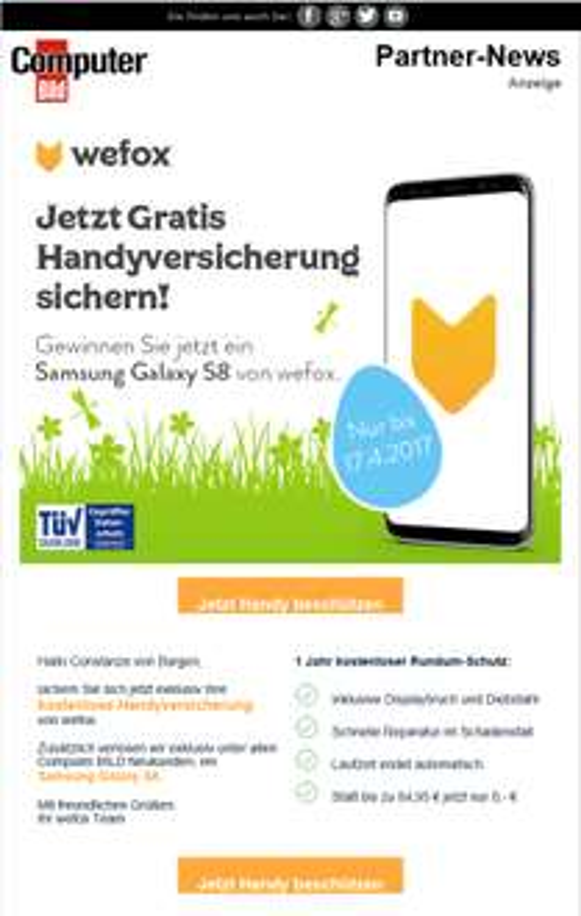 Gratis Handyversicherung + Samsung S8 gewinnen - nur bis 17.04.