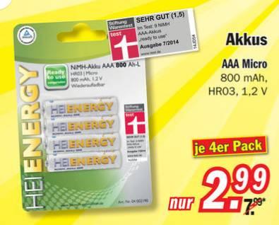 """[lokal] Zimmermann Restposten - 4 AAA NiMh Akkus 800 mAh """"ready to use"""" für 2,99 Euro (Stiftung Warentest """"sehr gut"""") und weitere gute Non-Food-Angebote"""