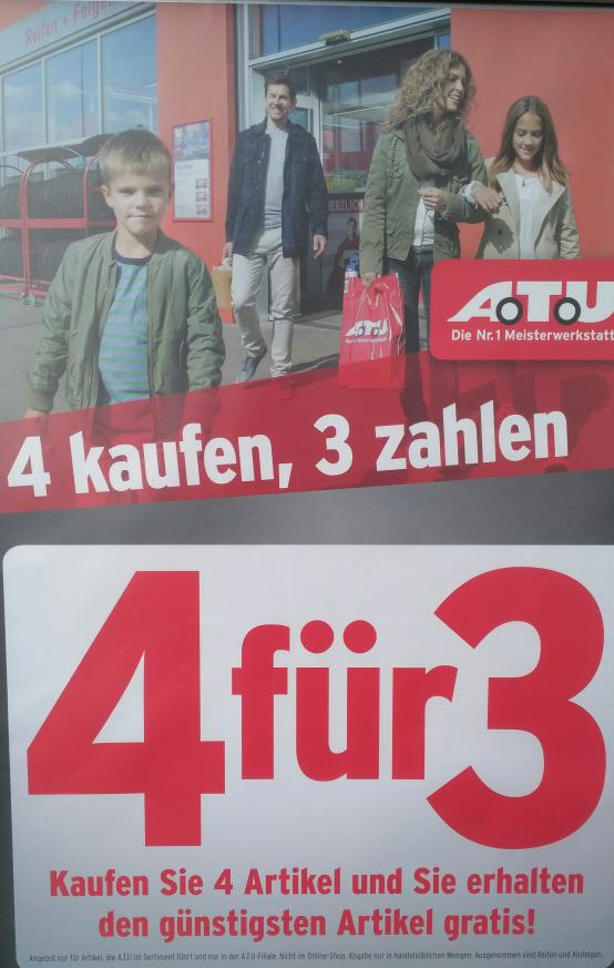 (OFFLINE Bundesweit) ATU: 4 kaufen 3 zahlen. (bis 25% Ersparnis)