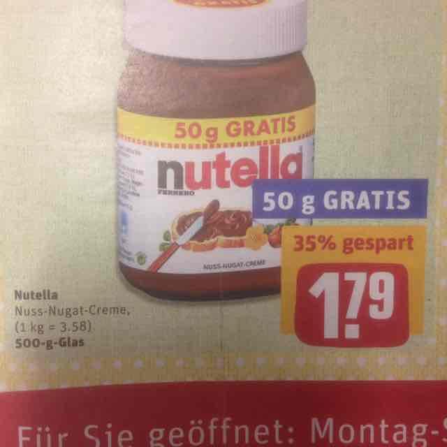 [REWE] Nutella 450g + 50g für 1,79 € ab 10.04.
