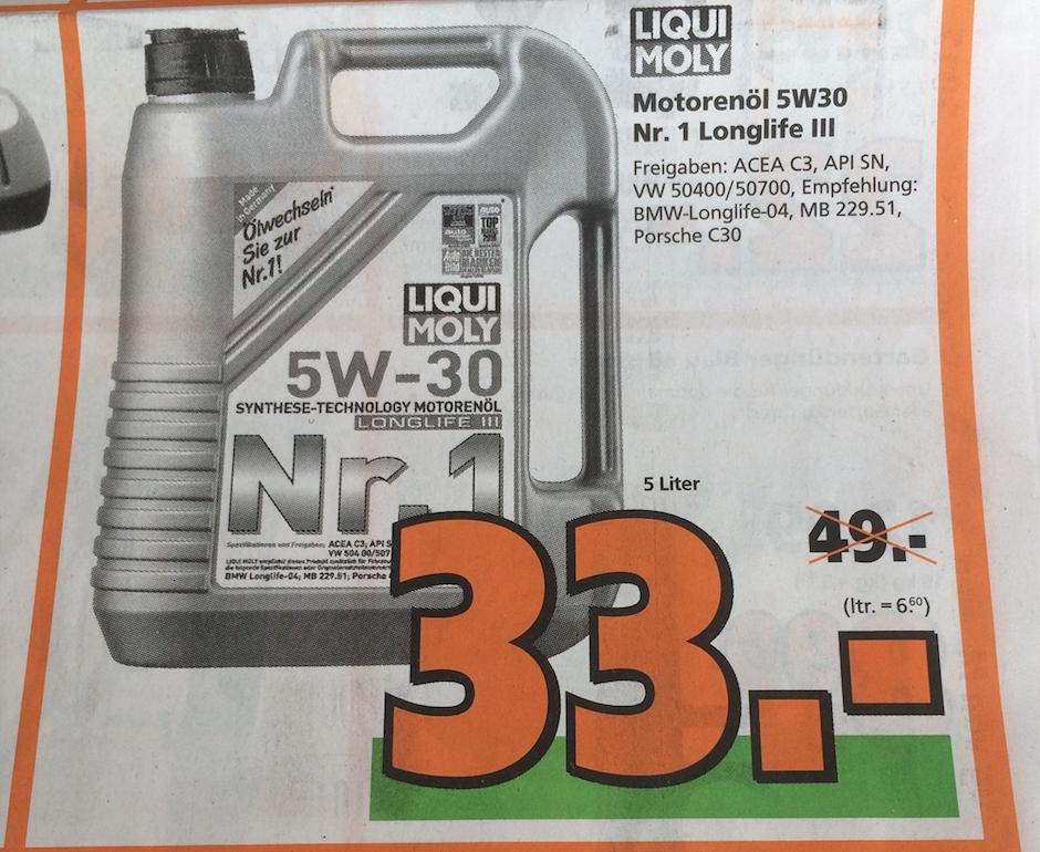 [Globus Baumarkt] LIQUI MOLY Motoröl Longlife 3 5W-30 Nr. 1 /  5L [33€]