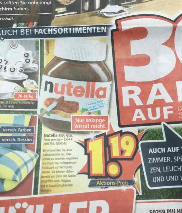 Segmüller: Lokal in Pulheim bei Köln: Nutella 450gr 1,19€