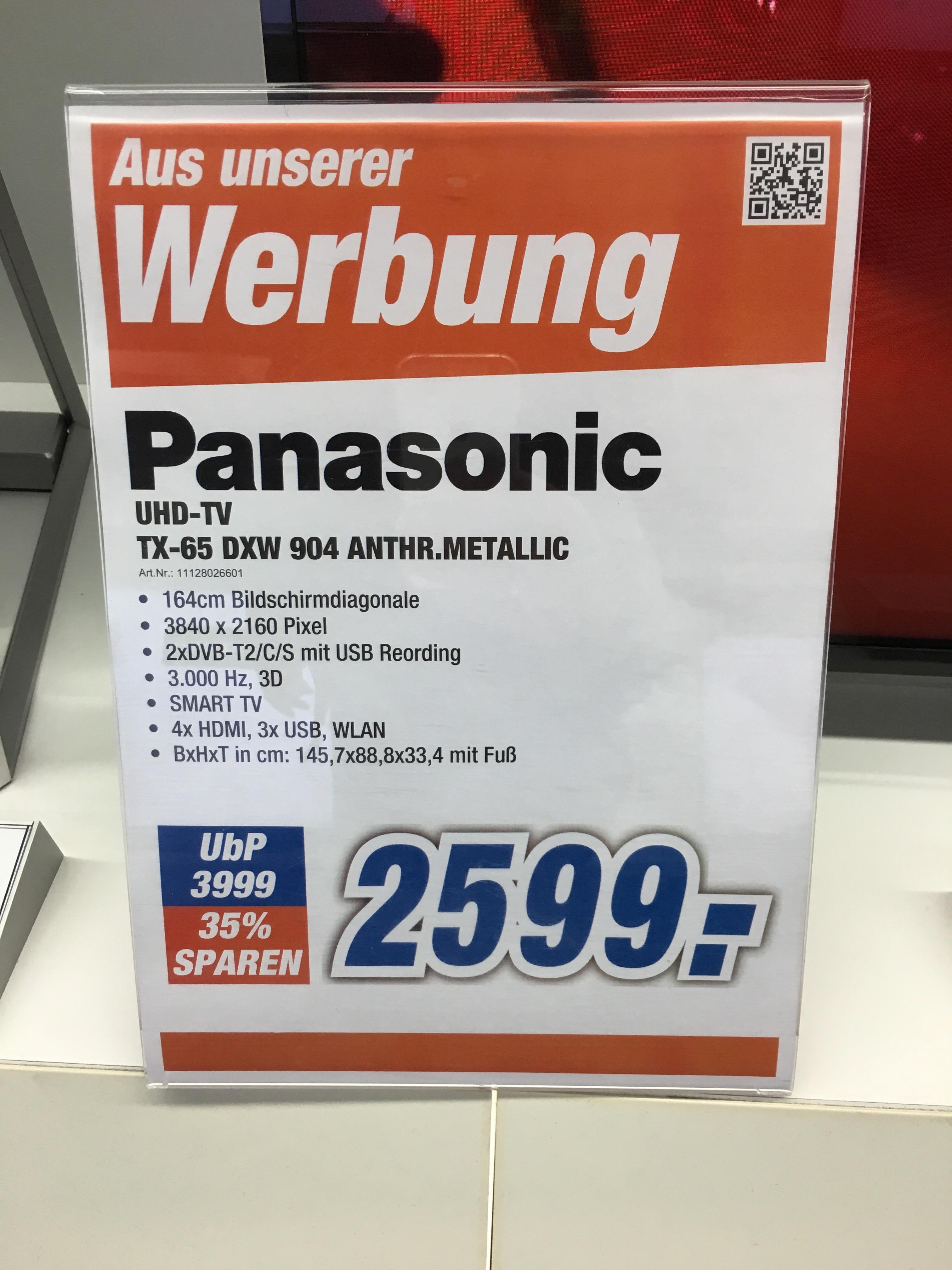 [Lokal expert Höxter] Panasonic 65DXW904, FALD 4k HDR TV, 3D aktiv, Doppel-Tuner