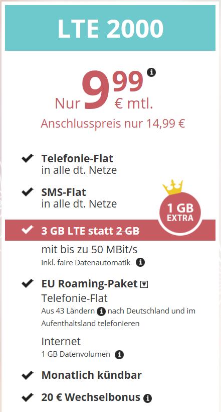 ALLNET + SMS Flat + 3 GB LTE