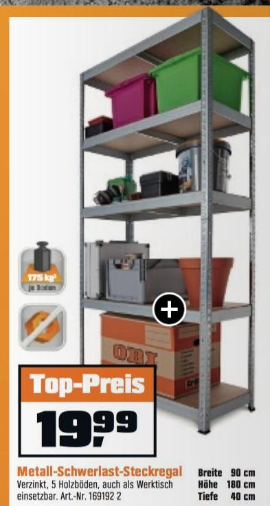 [Obi Offline bis 15.4.17] Schwerlast-Steckregal 175kg pro Boden 19,99€ & Verbandkasten compact 4,99€