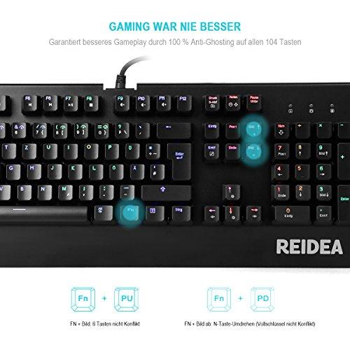 Mechanische Tastatur mit roten Schaltern und RGB Beleuchtung für 48,99