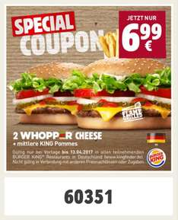 [BK] 2 Whopper Cheese + mittlere Pommes nur 6,99€