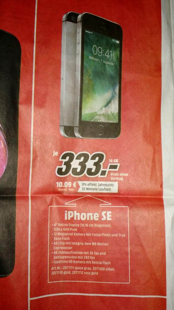 Apple iPhone SE 16GB für 333€ + 1,99€VSK in allen Farben bei MM