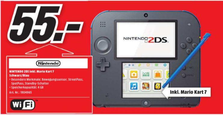 [Lokal Mediamarkt Hildesheim] Nintendo 2DS schwarz/blau + Mario Kart 7 (vorinstalliert) - Limited Edition Pack für 55,-€