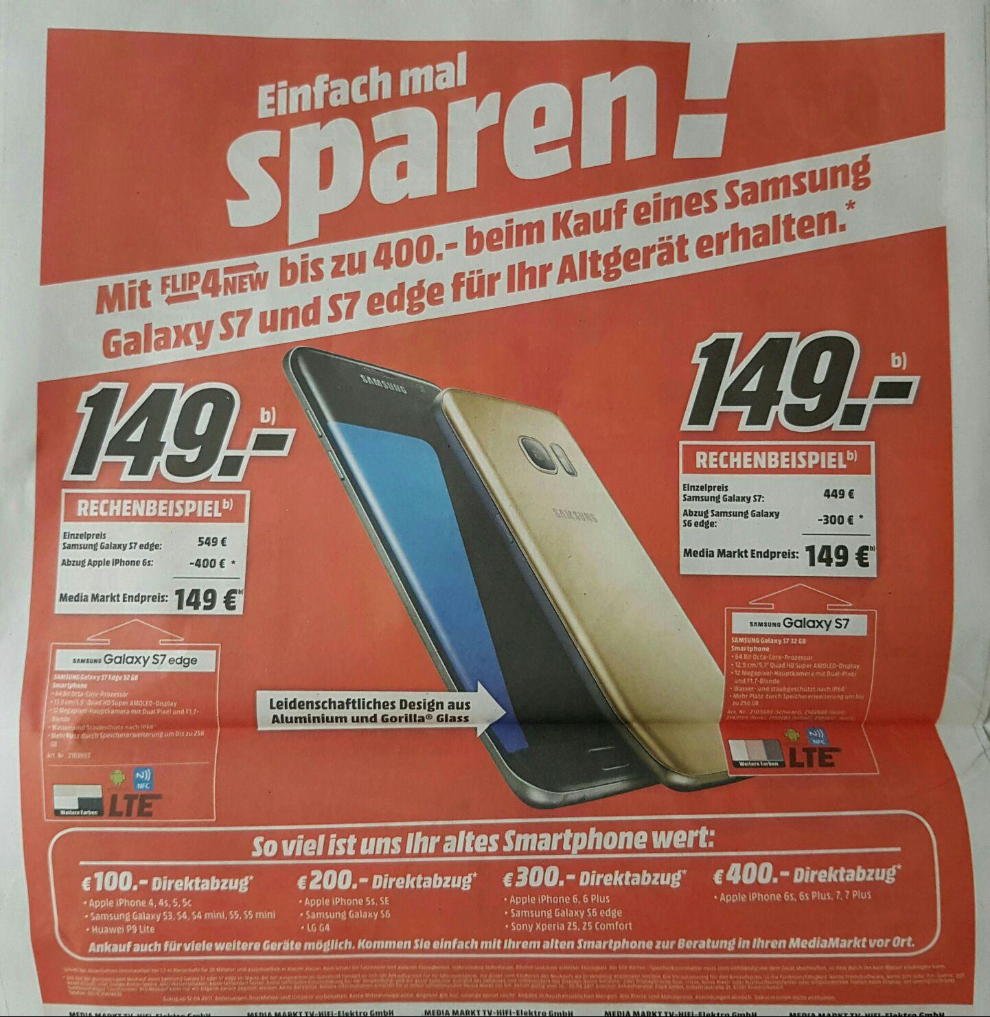 [MediaMarkt Lokal Stuttgart & Umgebung]Samsung Galaxy S7 und S7 edge bis zu 400.- für ihr Altgerät erhalten