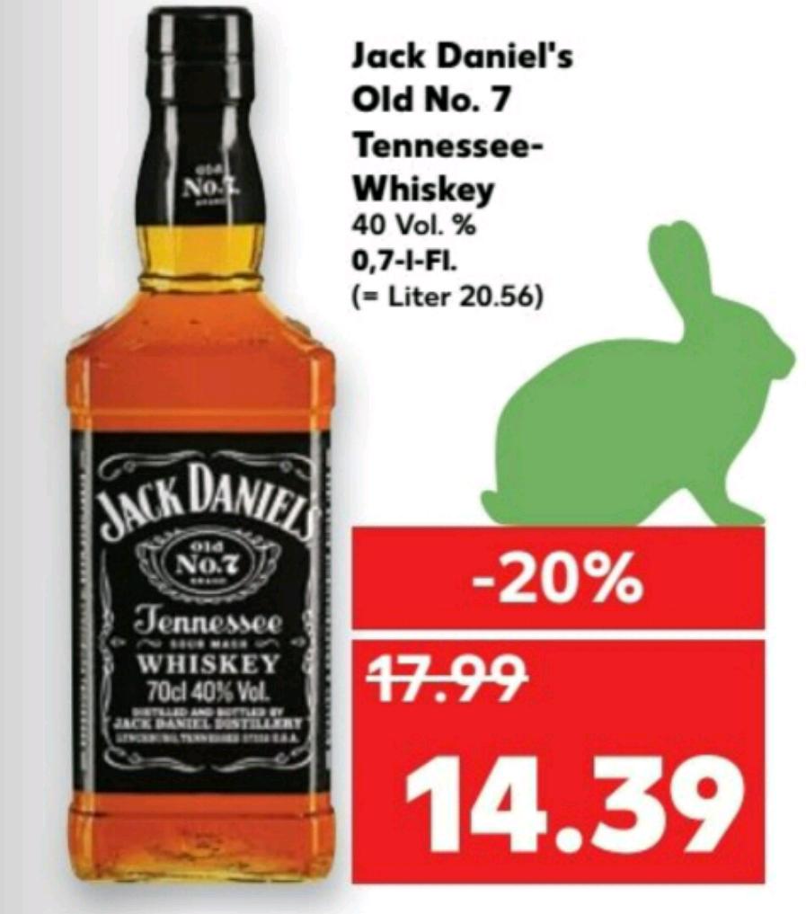 Jack Daniels Tennesse Whisky 0,7 L Kaufland Top Preis