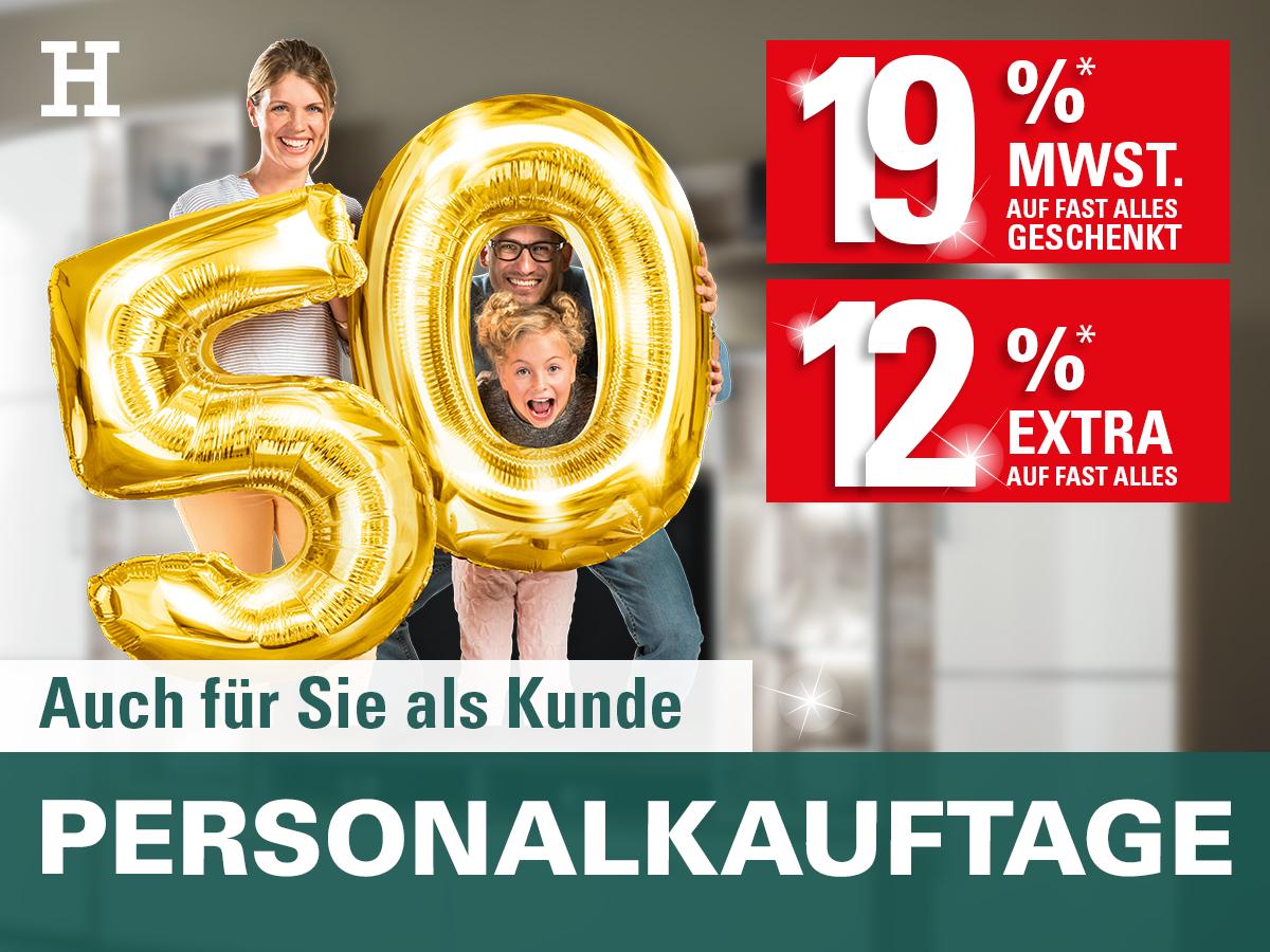 Personalkauftage Möbel Höffner 19% MwSt + 12% Rabatt