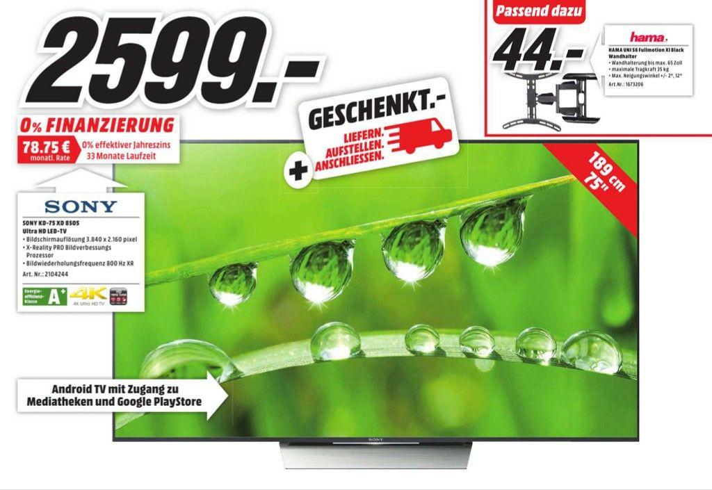 [Lokal Media Markt Bad Kreuznach] Sony KD-75XD8505 LED TV (Flat, 75 Zoll, UHD, 4K HDR, SMART TV, Android TV) , EEK: A+ für 2599,-€