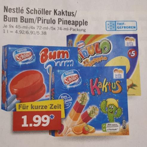 2 Packungen nestle Bum Bum oder Kaktus Eis für 1,99€ @LIDL