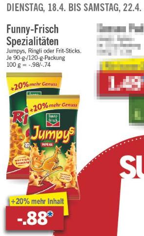 [Lidl ab 18.4.] Jumpys, Ringli und Frit-Sticks (20% mehr Inhalt!)