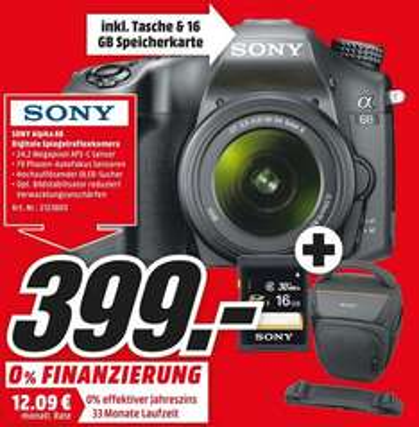 Sony Alpha 68 A-Mount Digitalkamera (24 Megapixel, 6,7 cm (2,7 Zoll) Display, 79-Phasen AF-Messfelder) inkl. SAL-1855 Objektiv schwarz + Original Tasche mit Umhängegurt von Sony + SD Speicherkarte von Sony - 16GB (Lokal - MM Frankfurt-Borsingallee)