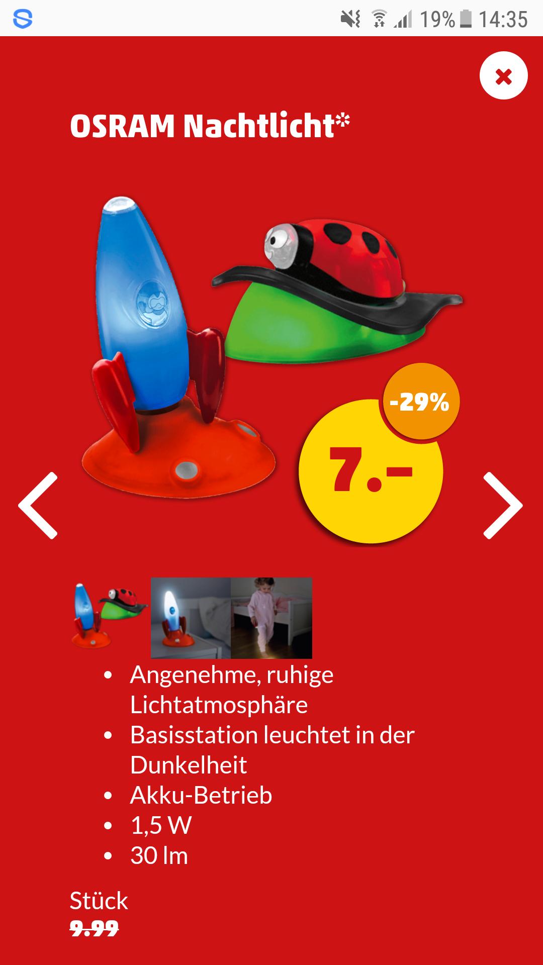 Penny: Osram Nachtlicht Käfer + Rakete