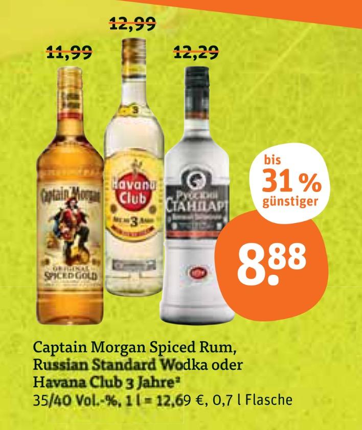 [tegut] bundesweit: Prost. Russland Standard, Captain Morgan und Havana Club je 0,7l Flasche für 8,88€