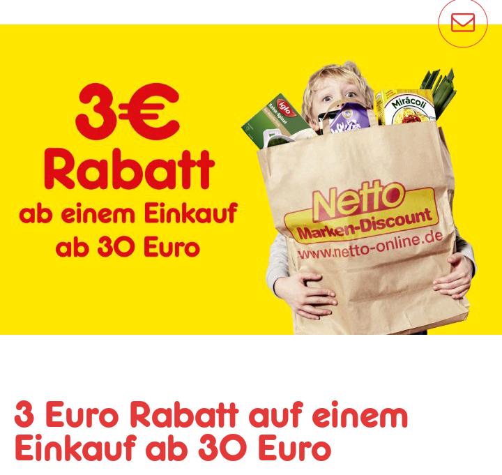 3 Euro Gutschein ab 30 Euro Einkaufswert (Netto MD) App