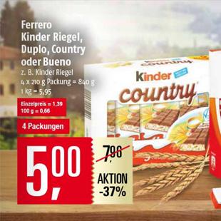 [Marktkauf Nord] Ferrero Kinder Riegel, Duplo, Country oder Bueno ab 4 Packungen zu je 1,25€