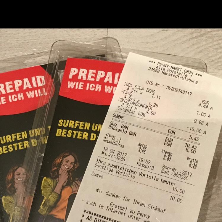 [Penny] Preisfehler: congstar Prepaid Karten inkl. 10,- € Guthaben für - 0,01 €