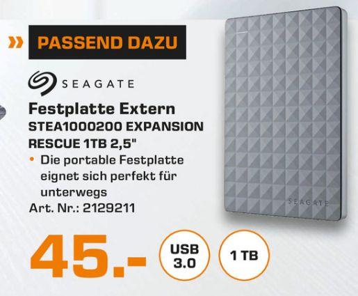 [Lokal Saturn Stuttgart/Esslingen/Leonberg] Seagate Expansion Portable,1 TB,externe Festplatte (Rescue Edition) USB 3.0 (Ausbaubar) für 45,-€