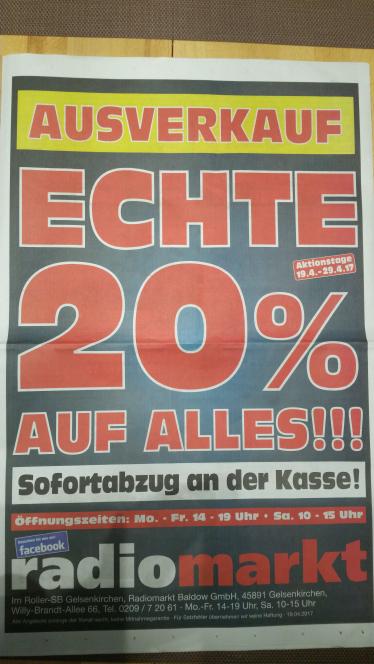 Lokal Radiomarkt in Gelsenkirchen 20 % auf alles.  vom 19.04. bis 29.04.