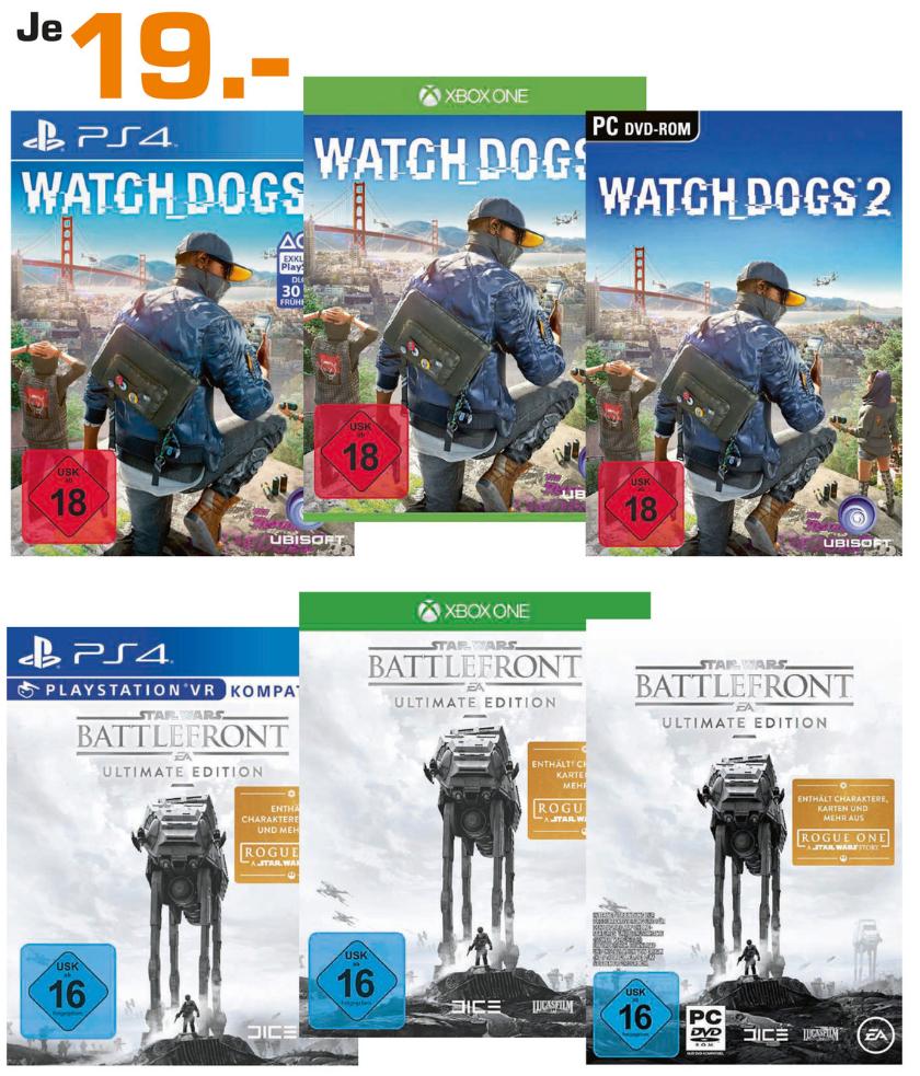 [Saturn Berlin/Potsdam] Watch Dogs 2 (PC, XBO, PS4) und Star Wars Battlefront UE (PC, XBO, PS4) für je 19€