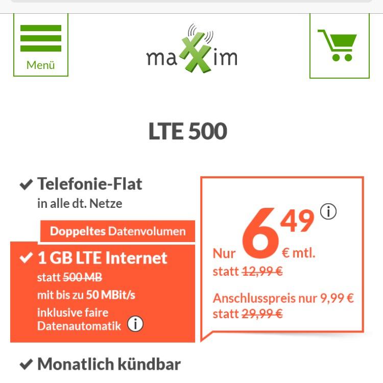 Maxxim Allnet Flat + 1 GB o2 LTE für 6,49€/ Monat