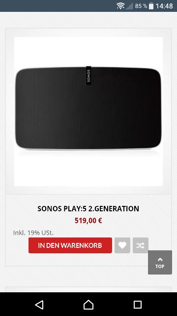 lokal:radiomarkt Gelsenkirchen z.B.  Sonos Play 5 s/w 2.Gen.