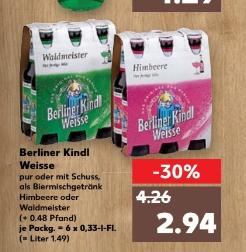 Kaufland (Wahrscheinlich regional)  Kindl Berliner Weisse  mit und ohne Schuss 6er pack 0,33l