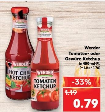 Kaufland ab 27.04 Werder Tomaten und  Gewürzketchup 450ml